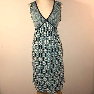Max Studio sleeveless pullover teal print dress M